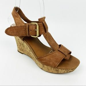 Franco Sarto Brown Leather Cork Wedge Sandals 7.5